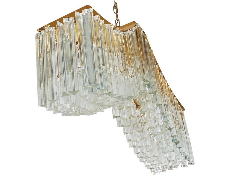 Late 20th Century Italian Modern Monumental Murano Brass and Glass Crystal Chandelier by Camer For Sale