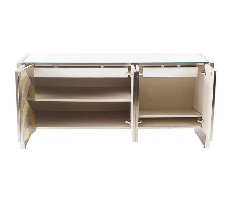 Hollywood Regency Brass and Brushed Steel Chevron Credenza or Dresser by Ello 4