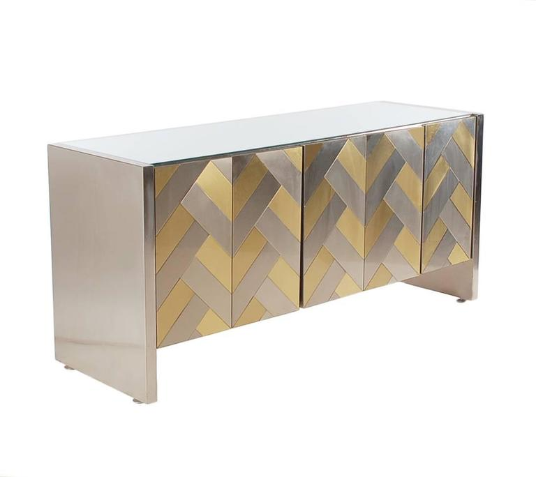 Hollywood Regency Brass and Brushed Steel Chevron Credenza or Dresser by Ello 2