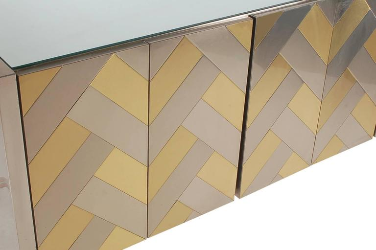 Hollywood Regency Brass and Brushed Steel Chevron Credenza or Dresser by Ello 3