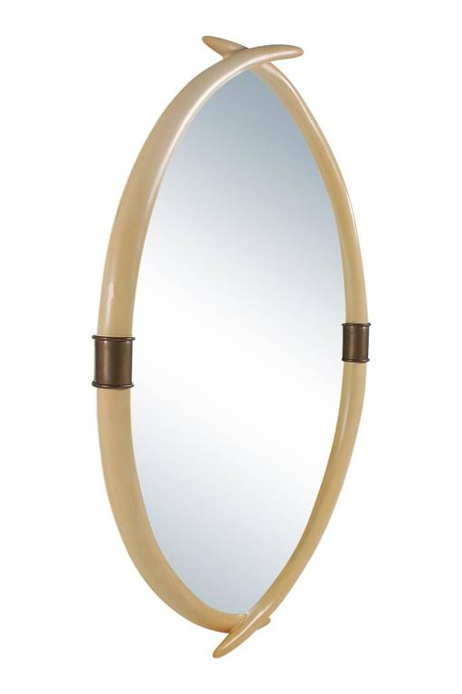 American Hollywood Regency Brass and Faux Ivory Tusk Wall Mirror, Mid-Century Modern For Sale