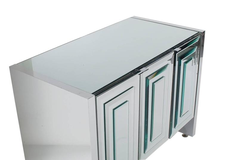 Mirrored Art Deco Credenza or Cabinet by Ello after Pierre Cardin or Paul Evans 3