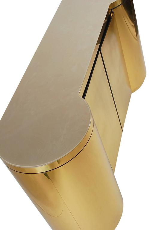 Hollywood Regency Brass Cylinder Credenza After Paul Evans or Karl Springer 5