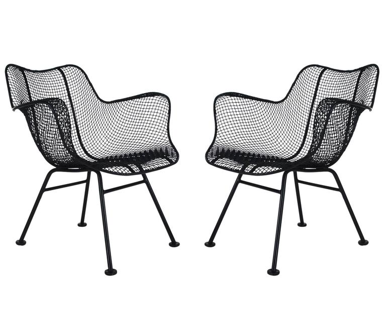 mid century modern pair of sculptural patio wire lounge chairs