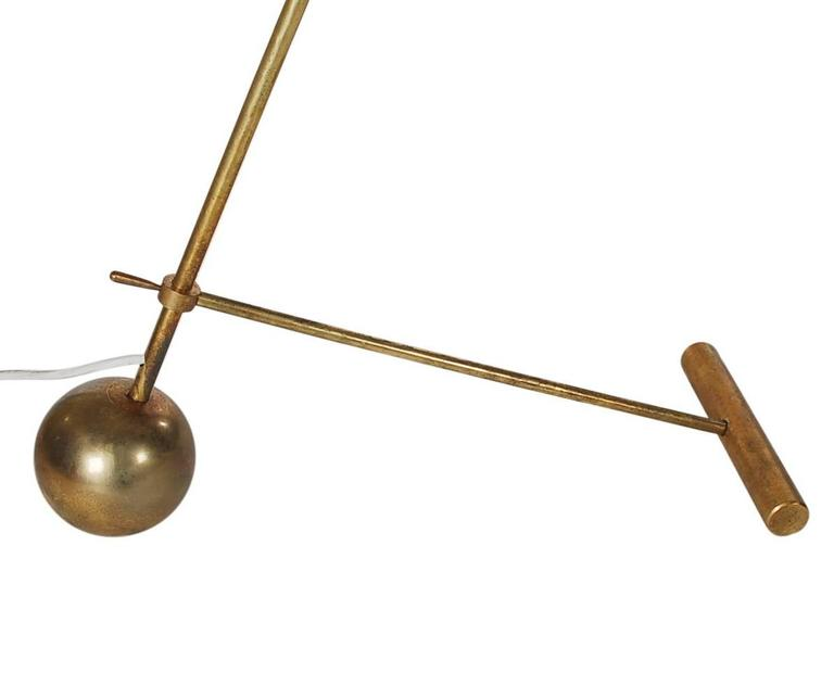 Mid-20th Century Mid-Century Modern Italian Brass and Red Floor Lamp by Stilnovo or Arredoluce For Sale