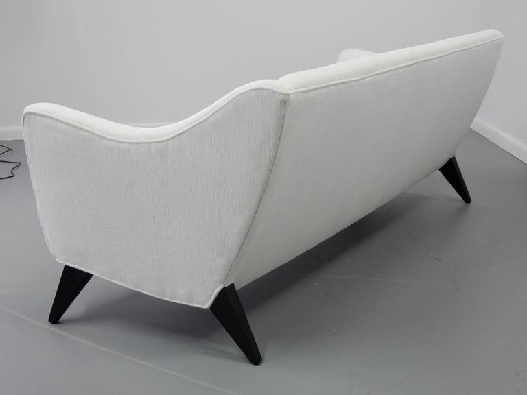Italian Sofa with Textured White Velvet and Ebonized Legs 2