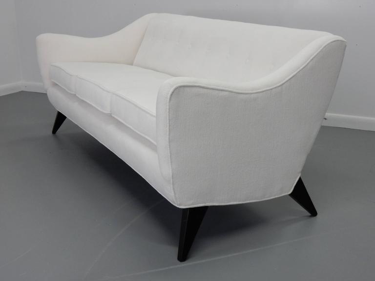 Italian Sofa with Textured White Velvet and Ebonized Legs 4