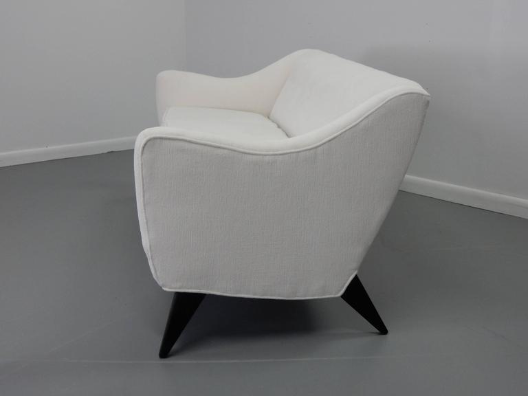 Italian Sofa with Textured White Velvet and Ebonized Legs 3