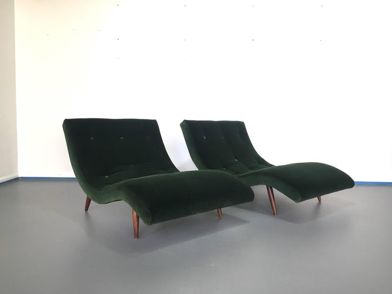 Adrian Pearsall Wave Lounge Chaises in Velvet with walnut legs Mid Century  4