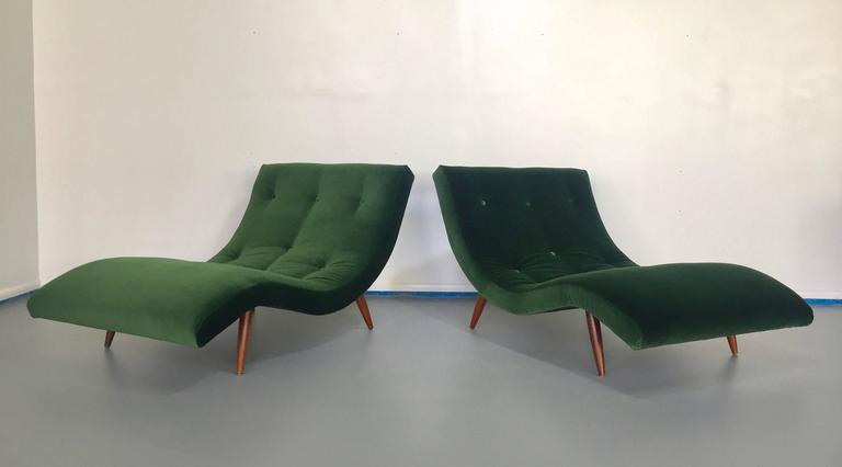 Adrian Pearsall Wave Lounge Chaises in Velvet with walnut legs Mid Century  3