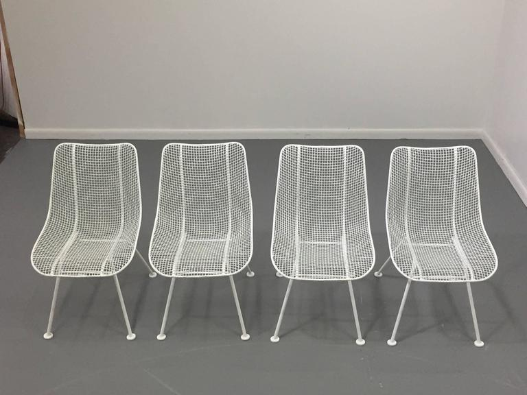 Woodard White Patio Side Chairs, Set of Four Mid Century Bertoia Herman Miller  2