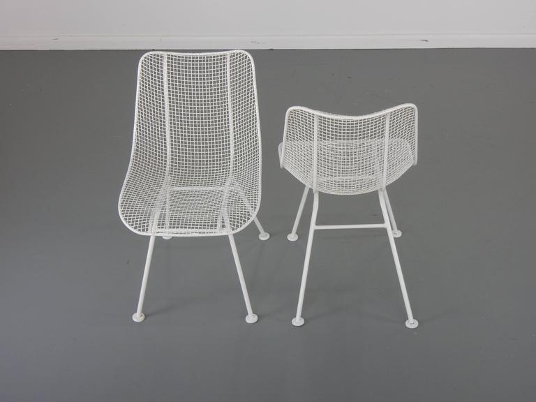 Woodard White Patio Side Chairs, Set of Four Mid Century Bertoia Herman Miller  3