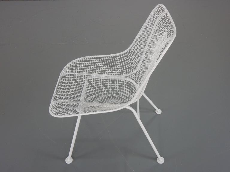 Woodard White Patio Side Chairs, Set of Four Mid Century Bertoia Herman Miller  4