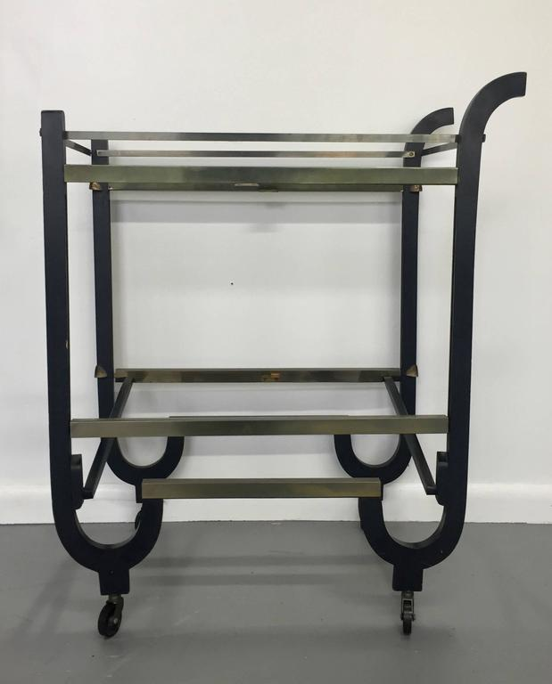 Donald Deskey Art Deco Brass and Ebonized Wood Folding Bar Cart 2