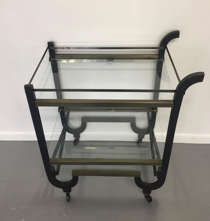 Donald Deskey Art Deco Brass and Ebonized Wood Folding Bar Cart 6