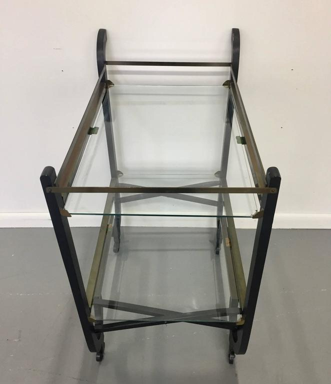Donald Deskey Art Deco Brass and Ebonized Wood Folding Bar Cart 5