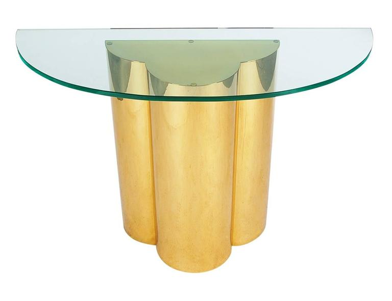 American Hollywood Regency Brass and Glass Trefoil Console Table Attributed to C. Jere For Sale