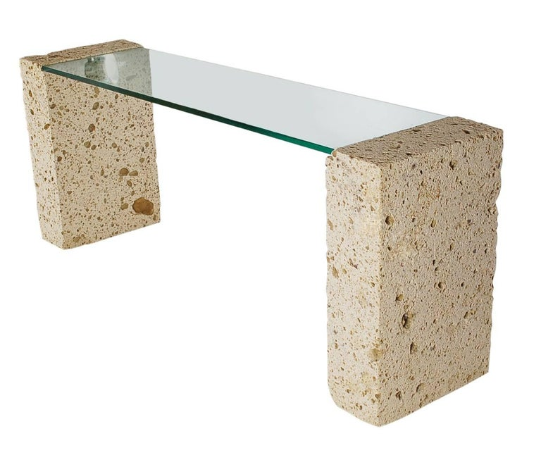 American Mid-Century Modern Cut White Coral and Glass Console Table or Desk After Sirmos For Sale