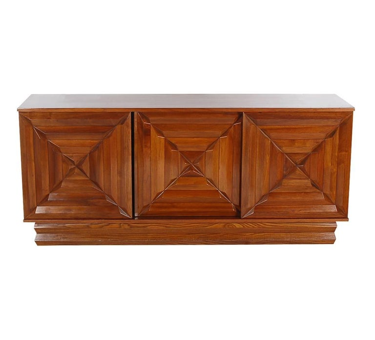 Mid-Century Modern Art Deco Walnut Credenza Cabinet or Dresser after Nakashima 2