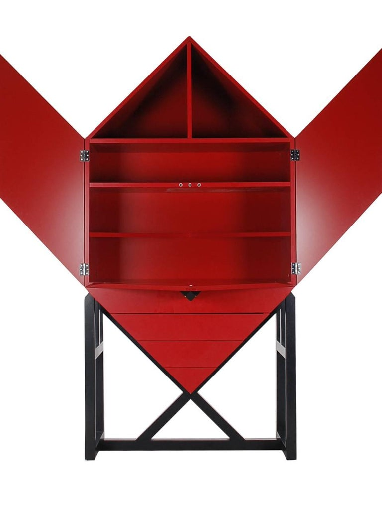 Mid-Century Post Modern Red Secretary Desk or Tall Cabinet after Ettore Sottsass 2