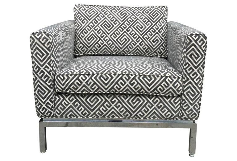 Knoll Style Mid-Century Modern Chrome Sofa in Grey Greek Key Cut Velvet 2