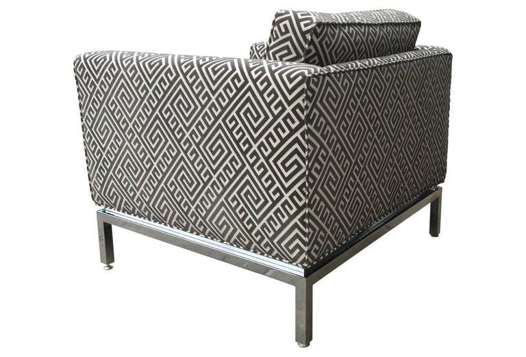 Knoll Style Mid-Century Modern Chrome Sofa in Grey Greek Key Cut Velvet 4