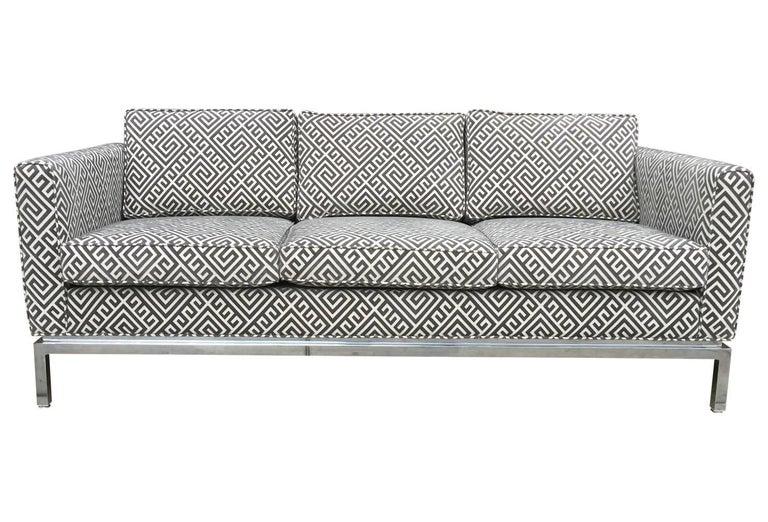 Knoll Style Mid-Century Modern Chrome Sofa in Grey Greek Key Cut Velvet 5