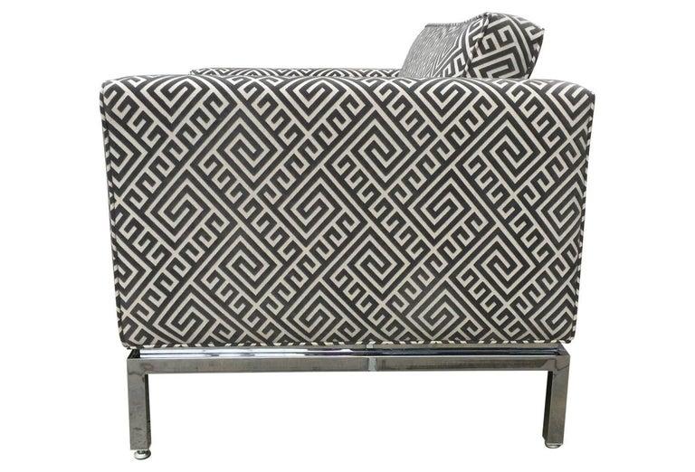 Knoll Style Mid-Century Modern Chrome Sofa in Grey Greek Key Cut Velvet 3