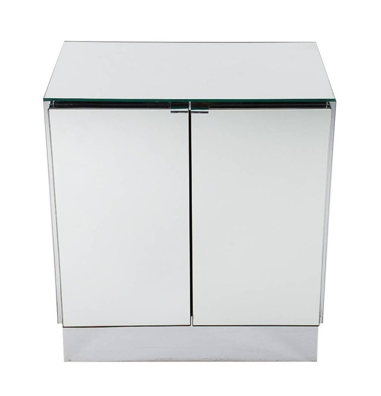 Late 20th Century Hollywood Regency Mirrored Cabinets, End Tables or Nightstands by Ello For Sale