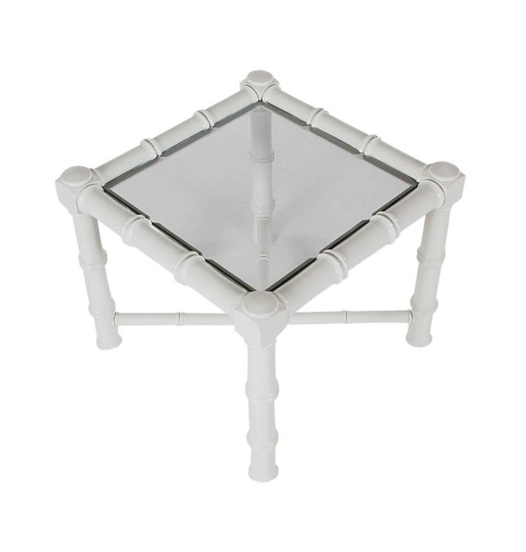 Glass Hollywood Regency Chunky White Faux Bamboo Chinoiserie End Tables, Midcentury For Sale