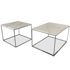 Milo Baughman for Thayer Coggin Chrome & Marble Occasional Tables, Midcentury