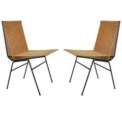 Pair of Mid-Century Modern Allan Gould Cord or String Chairs with Iron Frames