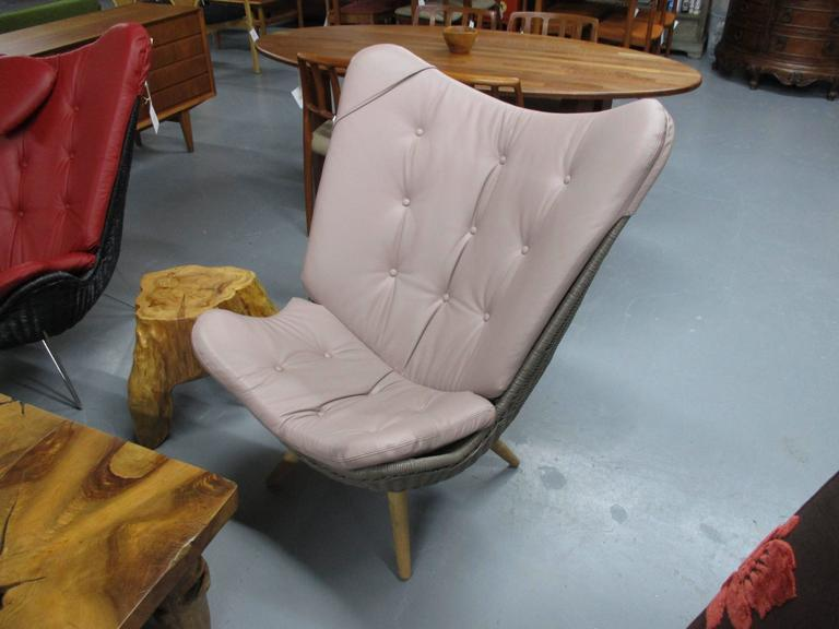 Mid-Century Modern Corollo Lounge Chair by Knud Vinther, Rattan with Italian Semi-Aniline Leather For Sale