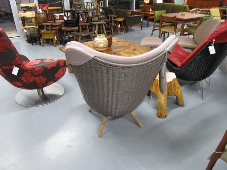Danish Corollo Lounge Chair by Knud Vinther, Rattan with Italian Semi-Aniline Leather For Sale