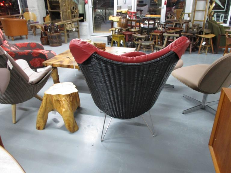 Corollo Lounge Chair by Knud Vinther, Rattan with Italian Semi-Aniline Leather In Excellent Condition For Sale In Ogdensburg, NY