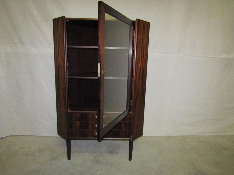 Stunning Rosewood Corner Cabinet From Denmark At 1stdibs