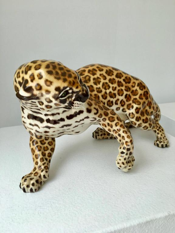 Glazed Nymphenburg Porcelain Hans Behrens Zola Leopard Figure Art Nouveau For Sale