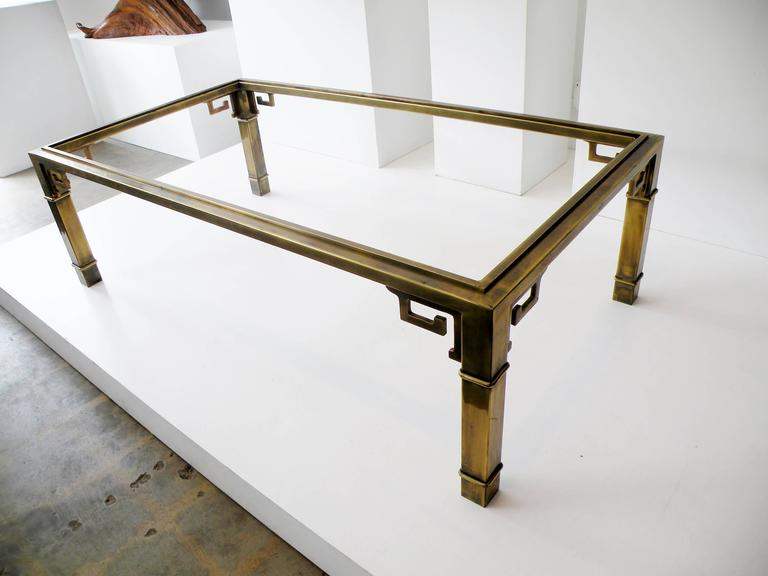 Mid-Century Mastercraft Greek Key Brass Rectangular Coffee Cocktail Table In Good Condition For Sale In Denver, CO