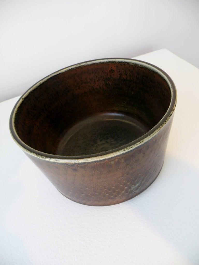 Scandinavian Modern Signed Carl Harry Stalhane Rörstrand Scandinavian Pottery Bowl, Midcentury For Sale