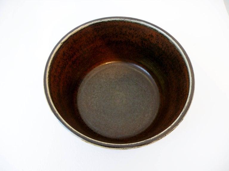 Glazed Signed Carl Harry Stalhane Rörstrand Scandinavian Pottery Bowl, Midcentury For Sale