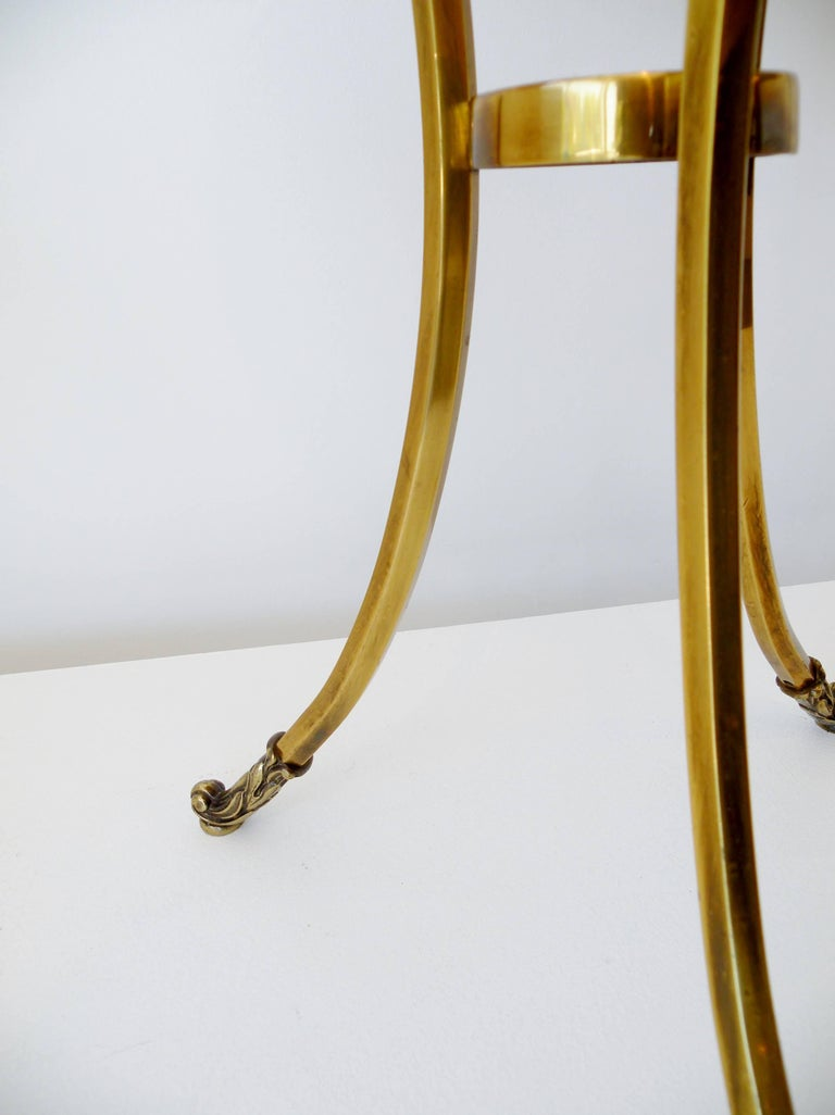 Late 20th Century 1970s Petite Mastercraft Midcentury Brass Cocktail Side Table with Gallery For Sale