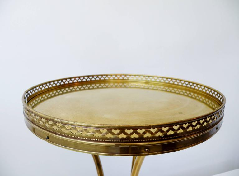 American 1970s Petite Mastercraft Midcentury Brass Cocktail Side Table with Gallery For Sale