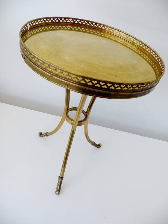 Mid-Century Modern 1970s Petite Mastercraft Midcentury Brass Cocktail Side Table with Gallery For Sale