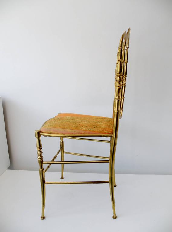 1960s Italian Brass Midcentury Hollywood Regency Chiavari Chair For Sale 1