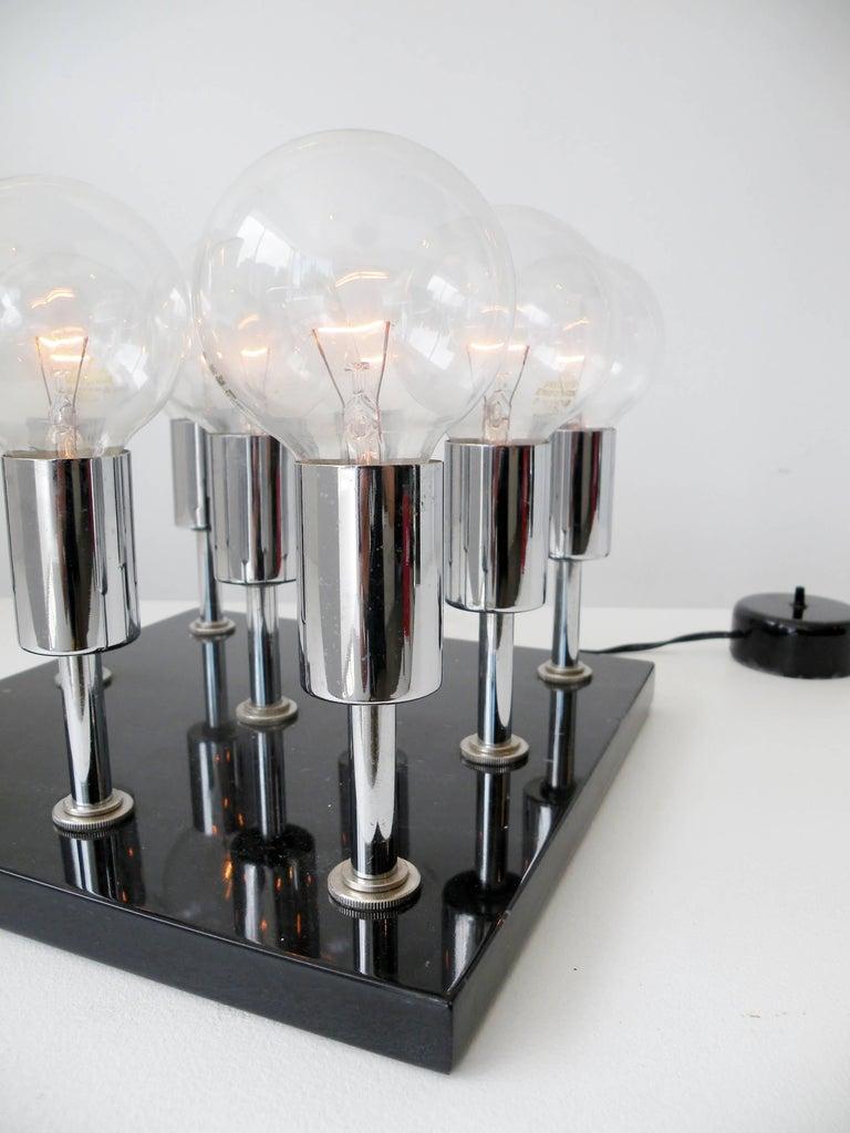 1960s Pop Art Italian Granite Chrome Sculptural Cluster Bulbs Table Lamp 4