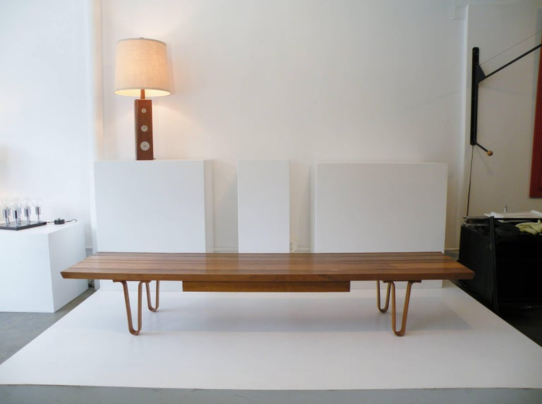 1958 Edward Wormley Dunbar Model 4699 Long John Bench Coffee Table with Drawer 4