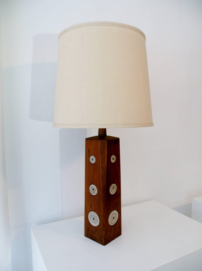 Modern Gordon & Jane Martz Marshall Studios Walnut with Ceramic Tiles Table Lamp For Sale