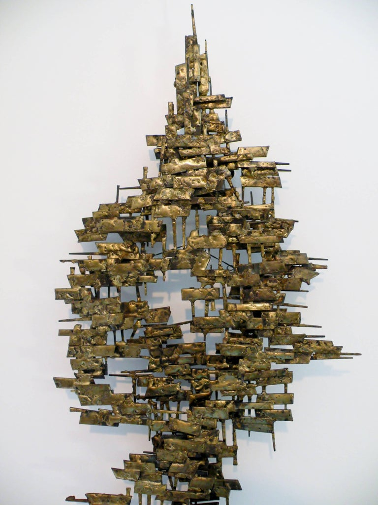 Brutalist Gilt Metal and Nail Mid-Century Modern Wall Sculpture 4