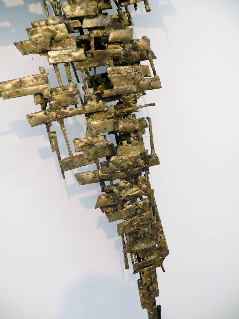 Brutalist Gilt Metal and Nail Mid-Century Modern Wall Sculpture For Sale 1