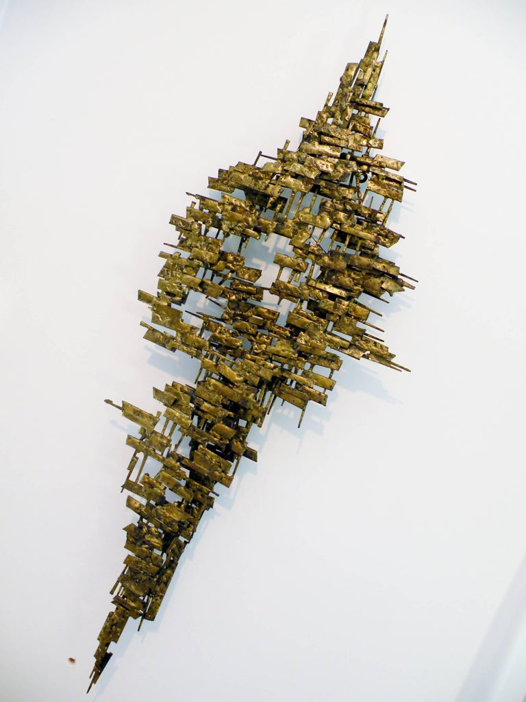 Brutalist Gilt Metal and Nail Mid-Century Modern Wall Sculpture 7